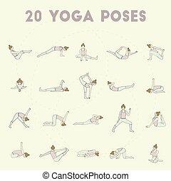 SET 20 pastel.eps - Set of twenty yoga poses. Collection of...