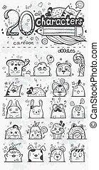 set, 20, scarabocchiare, mano, vettore, caratteri, disegnato, cartone animato