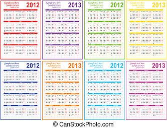 set, 2012, calendario, 2013