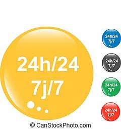 set, (24, bottone, 24h, hours), lucido