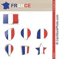 set, #3, bandiera, set, francia