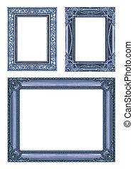 set, 3, di, vendemmia, blu, cornice, con, spazio bianco, ritaglio, path.