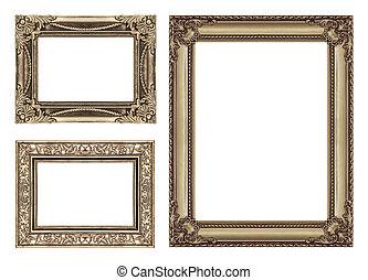 set, 3, di, vendemmia, marrone, cornice, con, spazio bianco, ritaglio, path.