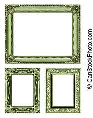 set, 3, di, vendemmia, verde, cornice, con, spazio bianco, ritaglio, path.