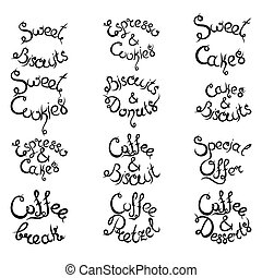 Set 3 of curly lettering Phrases for Coffee Shop. Vector illustration.