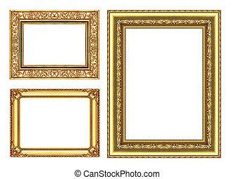 set, 3, oro, cornice, isolato, bianco, fondo, e, percorso tagliente
