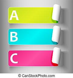 set, 3-peeling, etichette, con, lettere