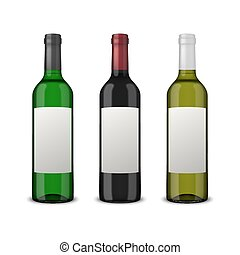 Set 3 realistic vector wine bottles with blank labels isolated on white background