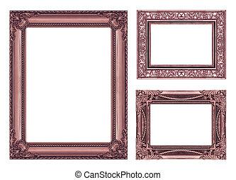 set, 3, van, ouderwetse , bruine , frame, met, lege ruimte, af)knippen, path.