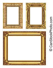 set, 3, van, ouderwetse , frame, met, lege ruimte, knippend pad