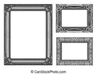 set, 3, van, ouderwetse , grijs, frame, met, lege ruimte, af)knippen, path.