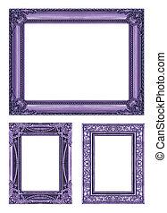 set, 3, van, ouderwetse , paarse , frame, met, lege ruimte, af)knippen, path.