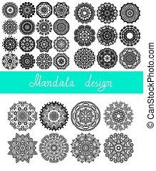 set, 33, ornament, verzameling, afdrukken, cirkel, mandala, ontwerp