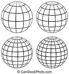 Set 3D ball globe model of the earth sphere with a coordinate grid,