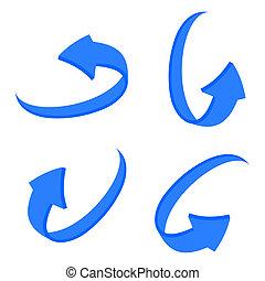 set 3D blue arrow