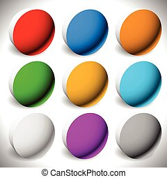 Set 3d button backgrounds. 9 different colors included.