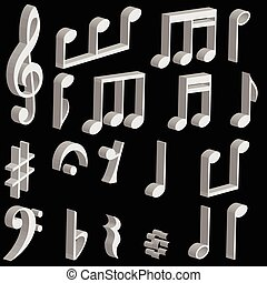 set 3d music notes