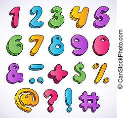 set., 3d, nombres, dessin animé