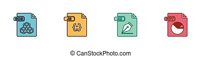 Set 3DS file document, JS, AI and PPT icon. Vector.