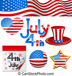 set., 4ème, symboles, vecteur, juillet, jour, indépendance