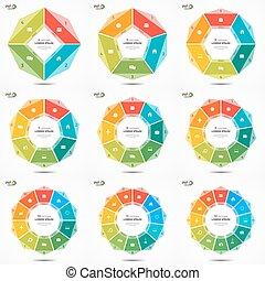 Set 4-12 options circle chart infographic templates