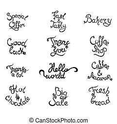 Set 4 of curly lettering Phrases for Coffee Shop. Vector illustration.