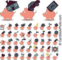 set, 48, iconen, spaarduiten, piggy bank