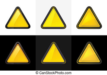 Set 6 colored blank triangle web 2.0 button