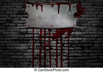 set, 8., bloedig, signboard, op, baksteen muur