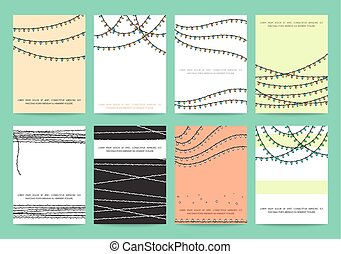 Set 8 festive ready designs with garland on color background