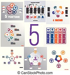 Set 8 universal templates elements Infographics conceptual cyclic processes for five positions