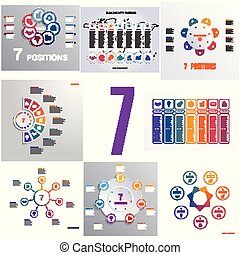 Set 8 universal templates elements Infographics conceptual cyclic processes for seven positions