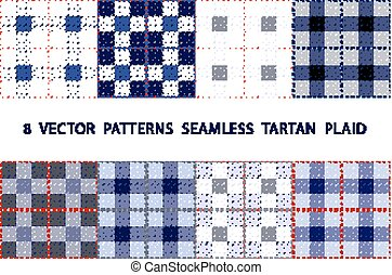 set 8  VECTOR  PATTERNS  SEAMLESS  TARTAN  PLAID blue