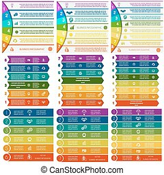 Set 9 templates Infographics colorful strips on 6, 7, 8...
