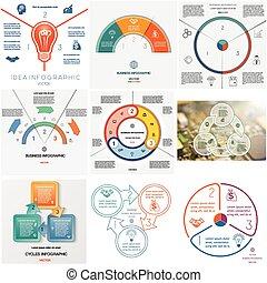 Set 9 templates Infographics cyclic processes on three...