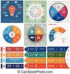 Set 9 templates Infographics cyclic processes, four...
