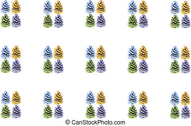 Set a block of blue green brown purple cones on a white background festive background seasonal basis