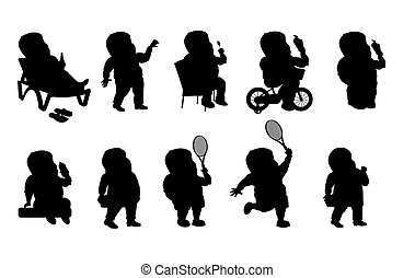 Set - a fat man in different situations. Black silhouette
