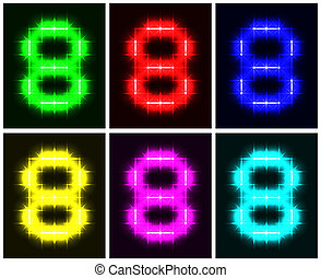 Set a glowing symbol of the number 8