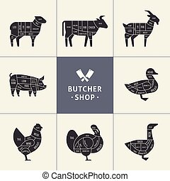 Set a schematic view of animals for the butcher shop.