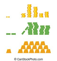 Set a various kind of money. Dollar cash paper bank notes, metal coins and gold bars.