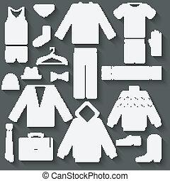 set, abbigliamento uomo, icone
