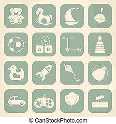 set., abbildung, kinder, vektor, retro toys, ikone