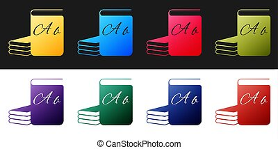 Set ABC book icon isolated on black and white background. Dictionary book sign. Alphabet book icon. Vector