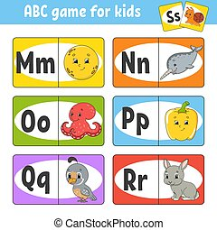 Set ABC flash cards. Alphabet for kids. Learning letters. Education developing worksheet. Activity page for study English. Game for children. Funny character. Vector illustration. Cartoon style.