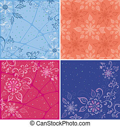 Set abstract floral backgrounds, symbolical flowers and...