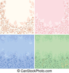 Set abstract floral backgrounds, symbolical flowers,...
