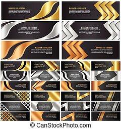 set, abstract, goud, spandoek, zilver, brons