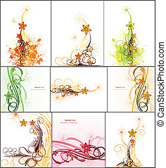 Set abstract image with flowers. Vector
