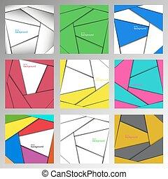 set, abstract, lijnen, vector, achtergronden, gemaakt, recht